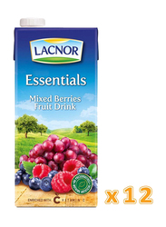 Lacnor Essentials Mixed Berries Fruit Drink, 12 x 1 Liters