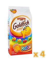 Peppridge Farm Goldfish Colors Cheddar Baked Snack Crackers, 4 x 187g