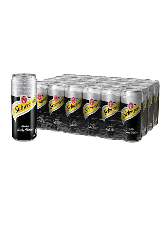 Schweppes Soda Water Soft Drink, 24 Cans x 330ml