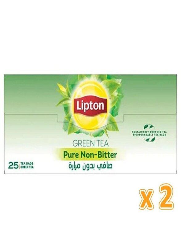 Lipton Pure Non Bitter Green Tea, 2 Boxes x 25 Tea Bags x 1.5g