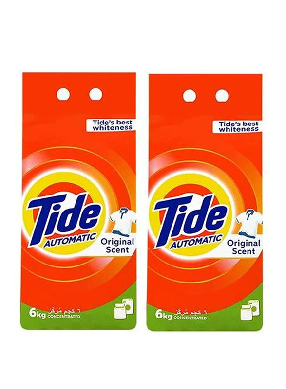 Tide Original Scent Green Automatic Concentrated Washing Powder Detergents, 2 Boxes x 6 Kg