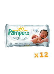 Pampers 12 Packs Sensitive Baby Wipes, 56 Wipes
