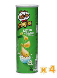 Pringles Sour Cream & Onion Chips, 4 Cans x 165g