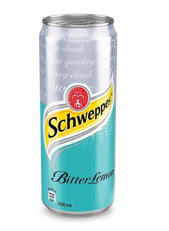 Schweppes Bitter Lemon Soft Drink, 24 Cans x 330ml