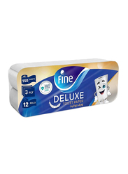 Fine Extra Strong Toilet Tissue Rolls, 12 Rolls x 150 Sheets x 3Ply
