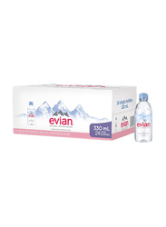 Evian Natural Mineral Water, 24 Bottles x 330ml