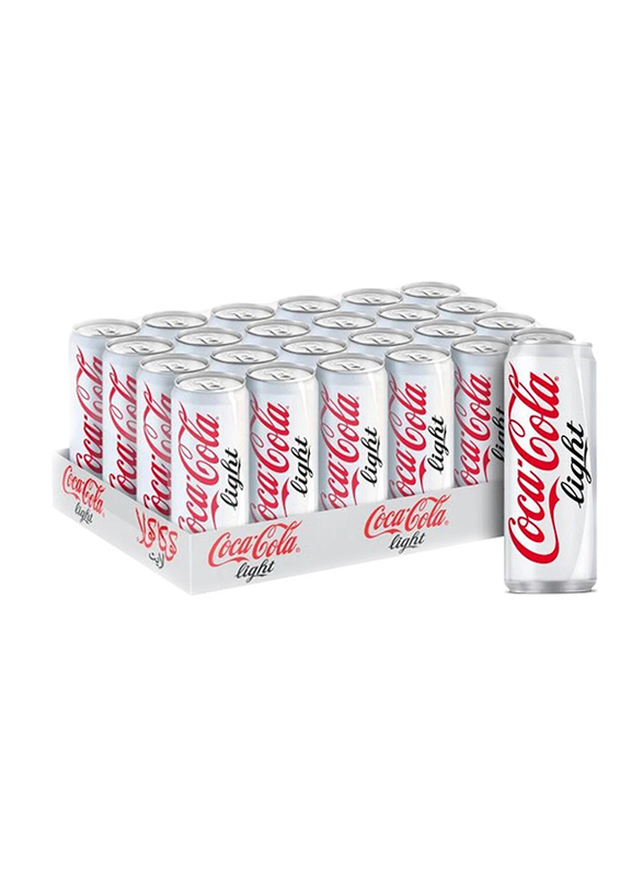 Coca Cola Light Carbonated Soft Drink, 24 Cans x 330ml