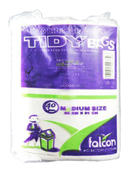 Falcon Tidy White Garbage Bag, Medium, 51 x 66 cm, 3 Packs x 40 Bags