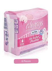Always Cotton Soft Ultra Sanitary Pads, Large, 8 Pieces