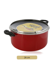 Union 26cm Non-Stick Aluminium Round Casserole, with Lid, Red/Black