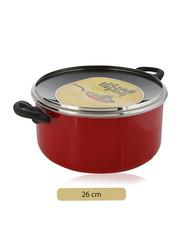 Union 26cm Non-Stick Aluminium Round Casserole, with Lid, Red/Black