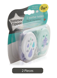 Tommee Tippee 2-Pieces Soother Holder Set, 0+ Months, Multicolor