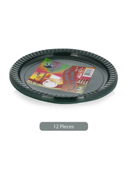 Union 9-inch 12-Pieces Colored Disposable Dinner Plates, Green