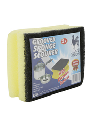 Union Grooved Sponge Scourer, Green/Yellow, 2 Pieces