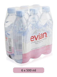 Evian Natural Mineral Water, 6 Bottles x 500ml