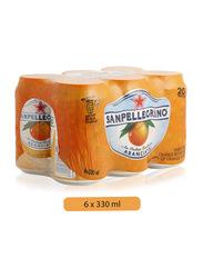 S.Pellegrino Sparkling Orange Juice Drink, 6 Cans x 330ml
