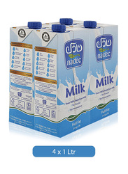 Nadec UHT Long Life Full Cream Milk , 4 Tins x 1 Liter