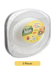 Falcon 5-Piece Aluminum Oval Disposable Platter, Silver