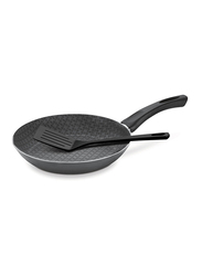 Tramontina 28cm Aluminium Deep Round Frying Pan, with Spatula, 45.3x28.1x9.4 cm, Black