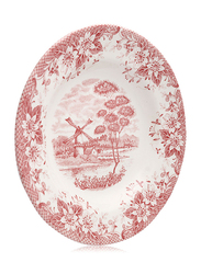 Claytan 23.3cm Ceramic Round Soup Plate, Windmill, Pink/White