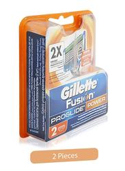 Gillette Fusion Pro Glide Power 2X Blades for Men, 2 Pieces