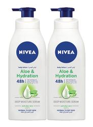 Nivea 2 Pieces Aloe & Hydration 48H Deep Moisture Body Lotion, 400ml