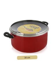 Union 30cm Non-Stick Aluminium Round Casserole, with Lid, Red/Black