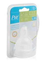 Pur Anti-Colic Fast Flow Wide Neck Silicone Teats, 2 Pieces, Clear