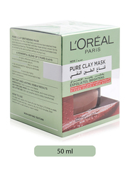 L'Oreal Paris Pure Clay Red Mask, with Red Algae, Exfoliates & Brightens Pores, 50ml