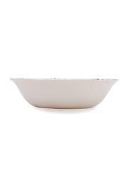 Claytan Gorgeous Round Salad Bowl, Flower Print, White