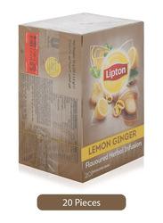Lipton Herbal Infusion Lemon Ginger Tea, 20 Tea Bags