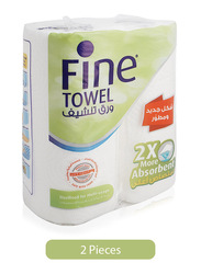 Fine 2 x More Absorbent Kitchen Towel Rolls, 2 Rolls x 60 Sheets