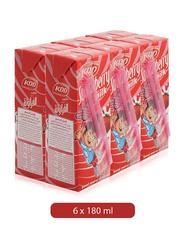KDD Strawberry Flavor Milk, 6 x 180ml