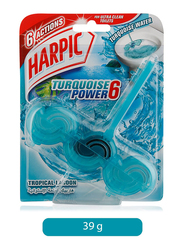 Harpic Turquoise Power 6 Tropical Lagoon Toilet Block, 39g