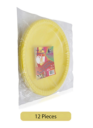 Union 10-inch 12-Pieces Round Plastic Dinner Plates, Yellow