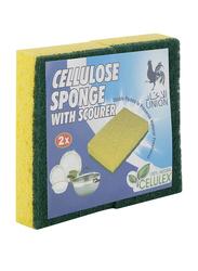 Union Cellulose Sponge Scourer, 11 x 7 x 2cm, Green/Yellow, 2 Pieces