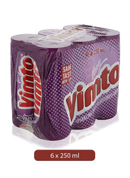 Vimto Fizzy Sparkling Fruit Flavored Juice Drink, 6 Cans x 250ml