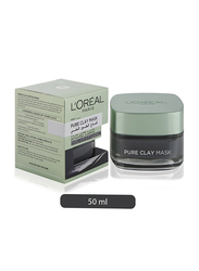 L'Oreal Paris Pure Clay Black Mask with Charcoal, Detoxifies & Clarifies, 50ml