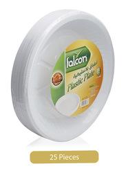 Falcon 18cm 25-Piece Round Plastic Plate, White