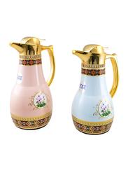 Edge Arabic 2-Pieces Vacuum Flask, 1 Ltr + 0.70 Ltr, Multicolor