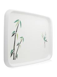 Union 45x32 cm Printed Crystal Rectangular Tray, White
