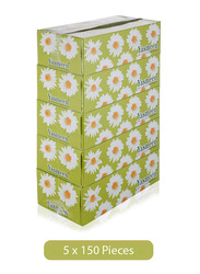 Yasmeen Soft Facial Tissues, 5 Pieces x 150 Sheets x 2 Ply