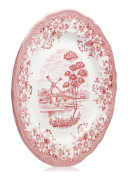 Claytan Acrylic Round Chop Plate, Windmill, Pink/White