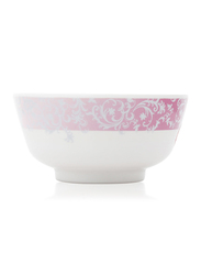Superware 4.5-inch Ceramic Round Rice Bowl, White/Pink
