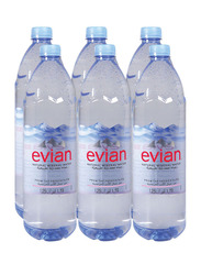 Evian Drinking Water, 6 Bottles x 1.25 Liter