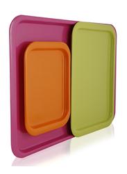 Pioneer 3-Pieces Plastic Rectangular Serving Tray, Multicolor