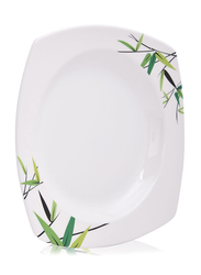 Union 20cm Bamboo Tree Print Acrylic Square Serving Plate, White
