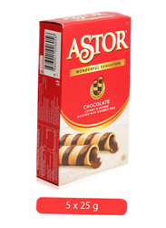 Astor Wonderful Sensation Chocolate Crumbly Roll, 5 x 25g