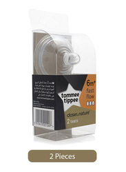 Tommee Tippee 2-Pieces Closer to Nature Fast Flow Teats Set, Clear