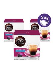 Nescafe Dolce Gusto Espresso Decaf Coffee Capsules, 16 Capsules, 3 Boxes x 96g